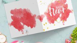 Babykaart Fleur, roze waterverf met goudfolie, hartjes op een witte kaart
